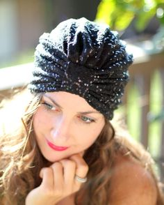 Sequin Turban in Black by Mademoiselle by mademoisellemermaid, $30.00