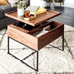 visit our website for the latest home decor trends . Diy Storage Shelves, Table Storage, Small Coffee Table, Coffee Table With Storage, Coffee Tables, Living Room Furniture, Living Room Decor, Furniture Redo, Furniture Ideas
