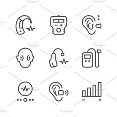 Set line icons of hearing aid Graphics Set line icons of hearing aid isolated on white Available RGB color Good choice for use in inf by motorama Shop Icon, Icon Set, Business Brochure, Business Card Logo, Web Design Icon, Graphic Design, Thank You For Purchasing, Script Type, Lisa