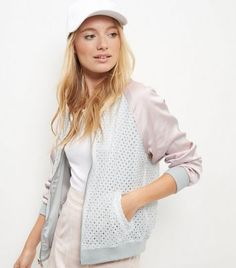 """Invest in reversible designs with this lace bomber jacket - great for the summer season.- Lace fabric- Reversible design- Zip front fastening- Casual fit that is true to size- Side pockets- Soft cotton blend- Model is 5'8""""/176cm and wears UK 10/EU 38/US 6"""