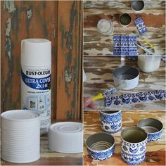 Recycle and give away: from cans to pots {DIY Friend's Day} / Vero Palazzo - Home Deco Tin Can Crafts, Jar Crafts, Crafts To Sell, Diy And Crafts, Bird Houses Painted, Painted Pots, Recycle Cans, Recycled Bottles, Diy Craft Projects