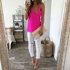 Destressed White Jeans and Pink Tank @ LegacyLooks.com 1-800-639-6710 Customerservice@legacylooks.com