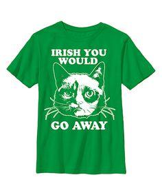Green Grumpy Cat 'Irish You Would Go Away' Tee - Youth