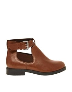 Image 1 ofASOS ASCOT Leather Cut Out Ankle Boots