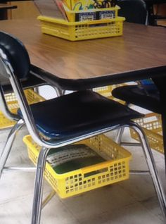 Do you have tables for your students? You know how there isn't any storage for their stuff?! Idea:  Use baskets under their chairs. Just zip tie the basket to the chair! Then, students can store binders and notebooks and anything else under their chairs! Color coding them is just a bonus!