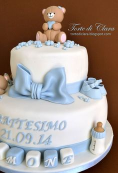 21 Ideas For Baby Boy Baptism Teddy Bears Baby Birthday Cakes, Baby Boy Cakes, Cakes For Boys, Baby Shower Cakes, Baby Boy Shower, Teddy Bear Cakes, Teddy Bears, Baby Boy Baptism, Torte Cake