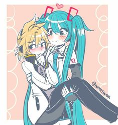sksksskskskskfbbf i feel attacked, have a cute Len and Miku Kaito, Hatsune Miku Vocaloid, Chibi, Kaai Yuki, Anime Watch, Mikuo, Lift And Carry, Cute Drawings, Anime Couples