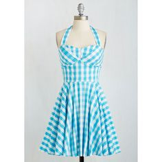 Pinup Mid-length Halter Fit & Flare Traveling Cupcake Truck Dress ($42) via Polyvore featuring dresses, lullabies, tops, halter dress, pinup halter dress, halter neck dress, pin up halter top and pleated dress