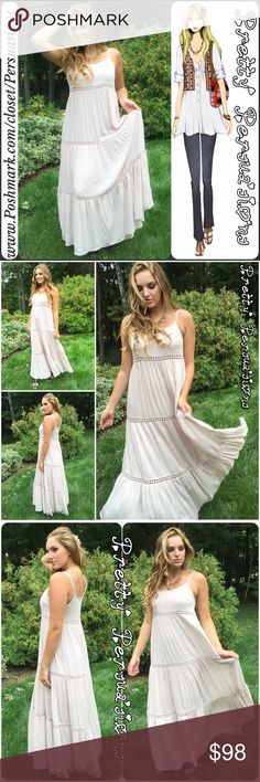 """SALENWT Cream Floral Crochet Boho Maxi Dress NWT Cream Floral Crochet Boho Maxi Dress  Available in sizes: S, M, L Measurements:  Length: 57"""";  Size Small Bust: 34"""" Size Medium Bust: 36"""" Size Large Bust: 38""""  (measurements taken unstretched)  Features: • adjustable spaghetti straps • floral crochet lace insets • light, soft, flowy, breathable material • relaxed fit • scooped neckline • lined/non-sheer  Rayon/Cotton   Fair offers welcome-Plz use offer option Bundle discounts available  No pp…"""