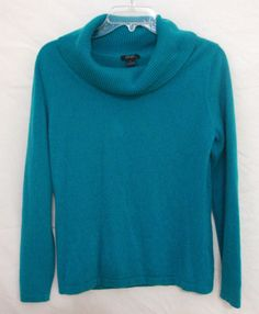 Prive 100% Cashmere Sweater Classic Soft Warm Teal Cowl Neck Long Women Large L #Prive #CowlNeck