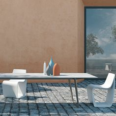 Aluminum frame table made for indoor or outdoor use with optional top options. OPTIONS Many sizes available in lacquered aluminium with fenix, lacquered and aluminum tops. Outdoor Dining, Dining Table, Showroom, Indoor, Outdoor Furniture, Home Decor, Al Fresco Dinner, Interior, Decoration Home
