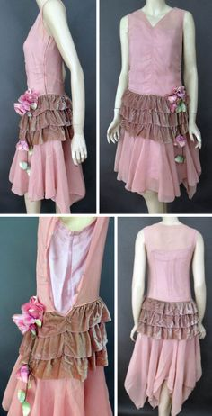 Dusty rose chiffon flapper dress with matching velvet flounce. Fabric flowers applied to velvet. Fully lined. Snaps along side with early metal snaps. Back of dress has triangular points of fabric for added length. Antique Clothier