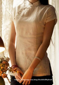 Summer Ivory Linen Cheongsam Top by RockRollRefresh on Etsy, $45.00