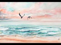 Watercolor Art Face, Watercolor Ocean, Watercolor Art Paintings, Watercolor Sketchbook, Dolphin Painting, Sea Turtle Painting, Pink Painting, Crayons Pastel, Watercolour Tutorials