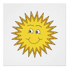 Yellow Summer Sun with a Happy Face. By Metaria