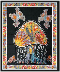 Psychedelic Mushroom Hippie Tapestry Wall Hanging Throw Tie Dye