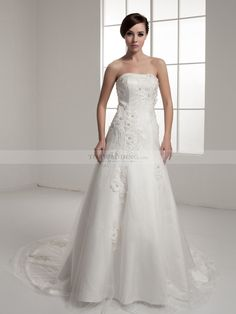 Beaded and Appliqued Strapless Princess Satin Wedding Dress