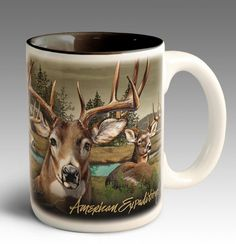 Whitetail Deer Collage Large Coffee Mug from the Ceramic Drinkware collection by American Expedition. American Expedition Stoneware Coffee Mugs have become a gi Lodge Look, Thermal Mug, Plastic Mugs, Lakeside Living, Large Coffee Mugs, Hunting Gifts, White Tail, Oh Deer, Mugs Set