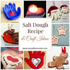 Simple instructions on how to make salt dough (printable salt dough recipe). Includes lots of salt dough craft ideas for kids.