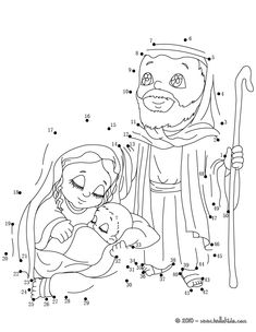 Holy Family printable connect the dots game. Color this picture of Holy Family printable connect the dots game with the colors of your choice.