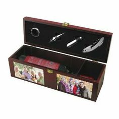 Keepsake Wine Box Gift Set - what a great thank you gift idea. add photos to really personalize it! Wood Gift Box, Wine Gift Boxes, Wine Supplies, Photo On Wood, Fine Wine, Bottle Art, Wine Drinks, Wood Boxes, Wines