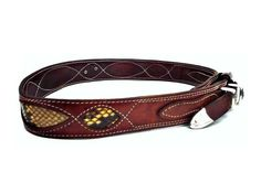 French Vintage GIL HOLSTERS Leather Belt with Snake Skin by bOmode