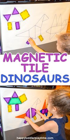 Magnetic Tile Dinosaurs HAPPY TODDLER PLAYTIME is part of Dinosaurs preschool - Here is a fun Magnetic Tile activity where your little one can create dinosaur shapes! This is a great activity for any dinosaur fan! Dinosaur Theme Preschool, Preschool Classroom, Dinosaur Dinosaur, Themes For Preschool, Build A Dinosaur, Shape Activities Kindergarten, Dinosaur Classroom, Preschool Food, Daycare Curriculum