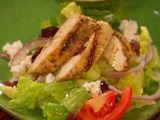 greek salad with oregano marinated chicken, from dave lieberman on food network