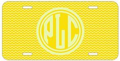 Personalized Monogrammed Chevron Yellow License Plate Auto Tag Top Craft Case http://www.amazon.com/dp/B00N024OWA/ref=cm_sw_r_pi_dp_Pyotub1067SST