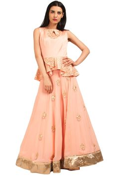 Blush Pink Embroidered Peplum Top And Skirt   #seema #clothing #peplum #top #skirt #pink #shades #gold #embroidered #floral #indian #western #new #traditional #summer #elegent #online #shopnow #onceuponatrunk