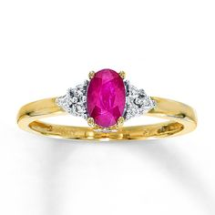 Natural Ruby Ring Diamond Accents 10K Yellow Gold