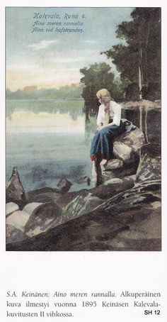 """The Life and Art of Sigfried August Keinänen - IIllustrations for the Kalevala - """"Aino"""". shades of Rusalka Russian Mythology, Baby Witch, Cool Paintings, Female Images, The Life, Mother Earth, Finland, Illustration Art, Sketches"""
