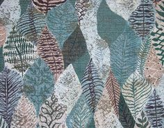 1950s textiles: Barkcloth with geometric leaves.
