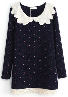 Navy Contrast Lace Collar Bow Print Dress - Sheinside.com