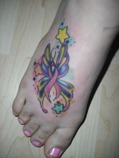 Butterfly Breast Cancer Ribbon Tattoo. Would be awesome with a purple ribbon for epilepsy