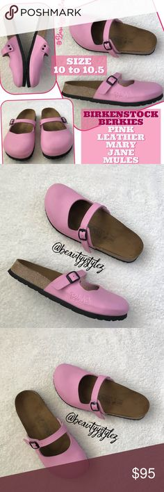 36bcec0a9f4f Birkenstock s Berkies Pink Leather Mary Jane Mules VERY MINOR SIGNS OF WEAR‼️Pictured  above. Not noticeable until up to face‼