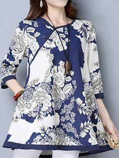 Vintage Printed Color Half Sleeves National Wind Plate Buckle Dresses