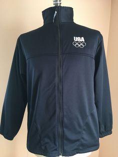 USA Track Jacket Navy United States Olympic Rings Committee Team Large Athlete #UnitedStatesOlympicCommittee #BasicJacket