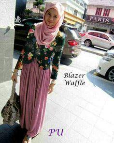 Ecer@130 resell@115rb grosir@105 ( PARIS hijabers, BLAZER bhn waffle motif+MAXI busui+PASHMINA,korea spdx) fit Lbesar, warna pink