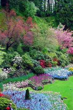 Items similar to Butchart Gardens-Victoria B.-Fine Art Photography-Wall Art-Home Print on Etsy Landscape Concept, Landscape Design, Garden Design, Beautiful Gardens, Beautiful Flowers, Porch And Terrace, Landscaping On A Hill, Sloped Garden, Ground Cover Plants