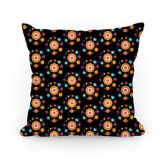 Get out into space with this intergalactic Solar System pattern pillow design featuring the planets of our Solar System (even Pluto!). Perfect for the science lover, space lover, outer space gifts, getting cosmic and spacey with the planets!