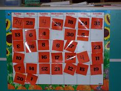 Math-rich preschool environment: student calendar in dramatic play area- my kids would LOVE this!!