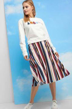 Proužkovaná midi sukně - Modrá Waist Skirt, Midi Skirt, High Waisted Skirt, Everyday Fashion, Sexy, Skirts, Folk, Shopping, Skirt