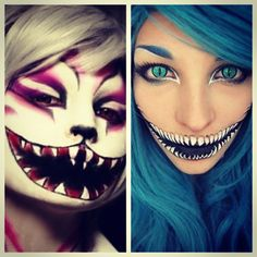 cheshire cat make-up, the one on the left is just plain creepy, but the right one would be really pretty if the teeth were less creepy..