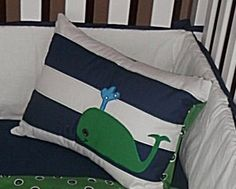 Navy and White Striped Nursery Quilt Pillow and Crib by shilohmae, $165.00