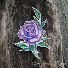 Purple Rose Temporary Tattoo by OctaviaTattoo on Etsy, £5.95