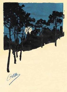 Camille Martin (1861-1898) - Paysage de sous-bois de Nuit (Bleu) (Passage through the Woods at Night (Blue)). Woodblock Print. Nancy, France. Circa 1890.