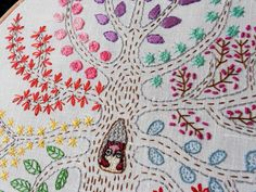 Bearpaw: Sampler Tree Embroidery with extra owls