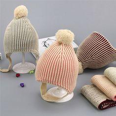 Autumn Winter Baby Knit Hats Scarf Two Suit Boy Girl Fur Ball Cap Pom Pom  Beanies Children Plus Velvet Thickening Hat Collar Set. Chapéus De Tricô f2268215a8d