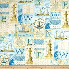Tall Ships Collage Multi from @fabricdotcom  Designed by Whistler Studios for Windham Fabrics, this cotton print fabric is a culmination of life at sea with compasses, lighthouses and ships! Perfect for quilting, apparel and home décor accents. Colors include cream, beige, tan, shades of blue and taupe.